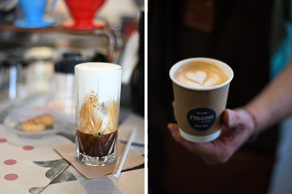 Φρέντο Εσπρέσο και Καπουτσίνο στο Γυάλινο Καφέ Αίγινα
