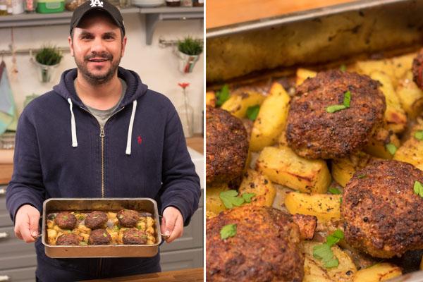 Μπιφτέκια με πατάτες στον φούρνο από τον Τάσο Αντωνίου